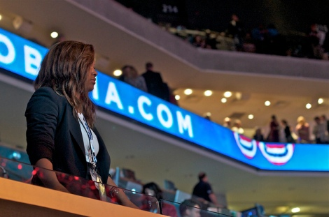 Youth Radio's Bianca Brooks in the press gallery at the DNC. Photo: Brett Myers/Youth Radio